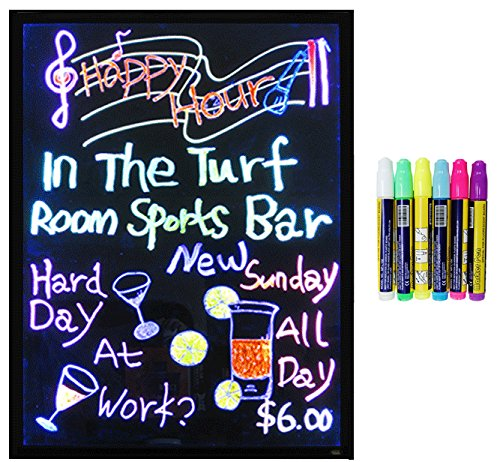 LED Message Writing Board - Framed 18'' x 23'' and 8 Color Pens by American Sign Letters