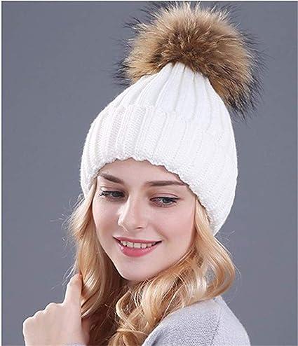 Damen Pom Ball Hüt Warm Knitted Strickmütze Fellbommel Beanie Mütze og