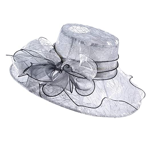 c850475cd4c75 Go Mai Accessories Women s Organza Kentucky Derby Hat Fashion New Ladies  Multicolor Elegant Personality Sun Hat Gray at Amazon Women s Clothing  store