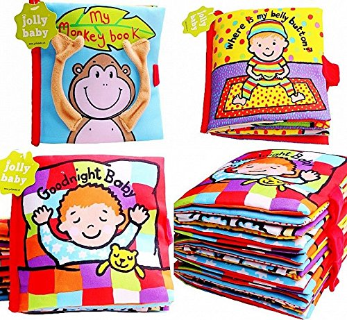 UNAKIM--Baby Kid Child Preschool Reading Story Rattle Squeaky Crinkle Cloth Book Toy - Reading Mall Stores