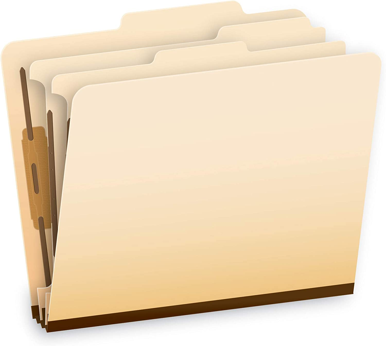 "Pendaflex Manila Classification File Folders, 2 Dividers, 2"" Bonded Fasteners, 2/5 Tab Cut, Letter Size, Manila, Box of 10 (24000P)"