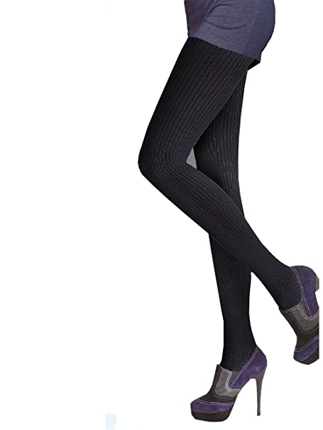 416766a22488d Ladies Thick Opaque Ribbed Tights