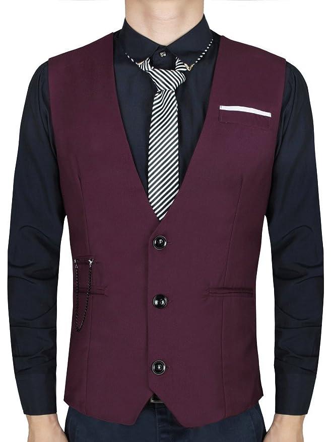 Cokle Men\'s V-neck Dress Vest Slim Fit Sleeveless Waistcoat Casual ...