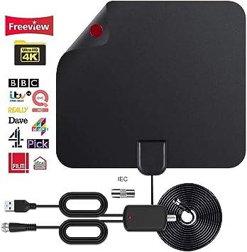 Antena de Interior con Amplificador 4K, HD, Antena Digital ...