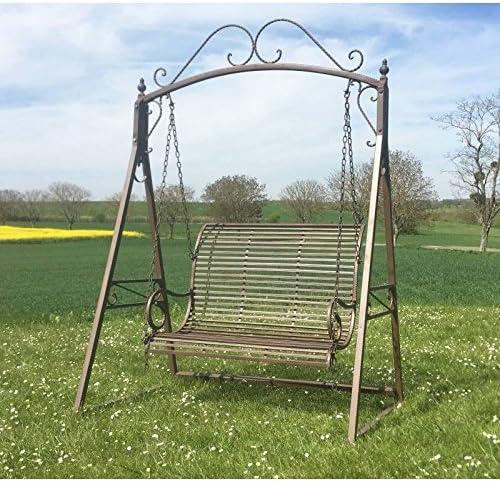 Gran balancín de charme columpio para adultos y niños 2 – 3 plazas mobiliario de jardín en hierro 108 x 165 x 240 cm: Amazon.es: Jardín