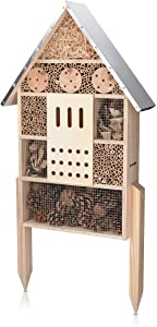 "Navaris Insect House with Stakes - Extra Large Wooden Bug Hotel 22.4"" H x 15"" W - Bee, Butterfly, Ladybug Natural Nesting Habitat for Garden and Yard"