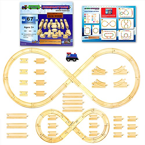 [67 Pieces] Wooden Train Track Set by Tiny Conductors - 100% Real Wood Railway Expansion Pack w/ Tank Engine; Fits Thomas, Brio, Chuggington, Melissa & Doug, and Imaginarium Kids Toy Railroad Sets - Railroad Wood