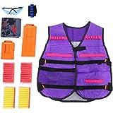 Kids Kids Elite Tactical Vest Kit Toy Gun Clip Jacket Kit for Nerf Gun N-Strike Series Vest+Bullet Clip +Soft Darts+Goggle +Mask (Style 2)