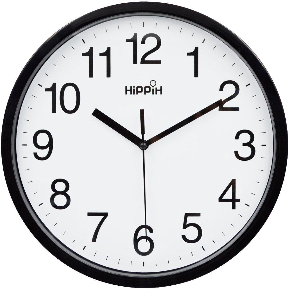 Hippih 10 Silent Quartz Decorative Wall Clock Non-ticking Digital(Black) by HIPPIH