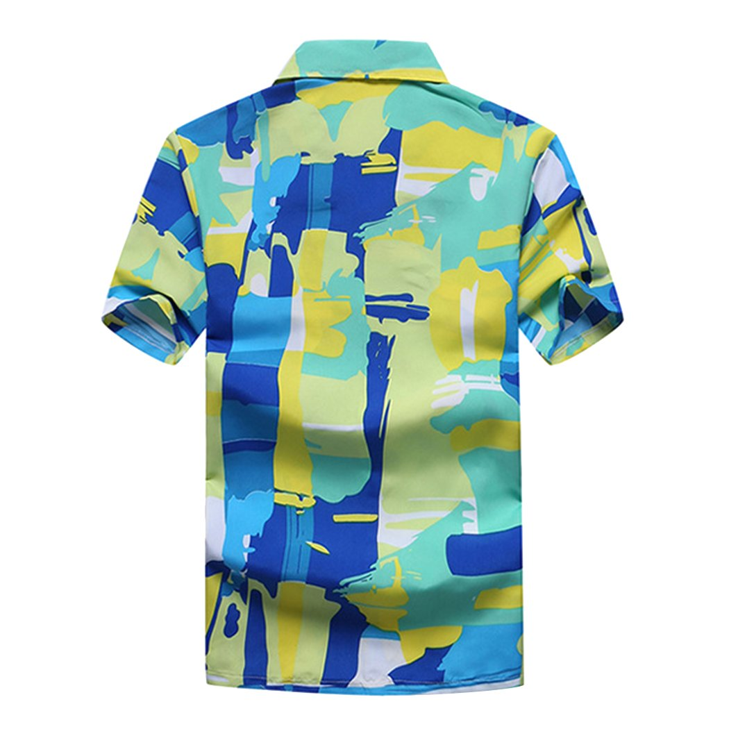 Novembers Chopin Mens Colorful Hawaiian Shirts Tropical Button Down Short Sleeve Wedding Beach Shirt