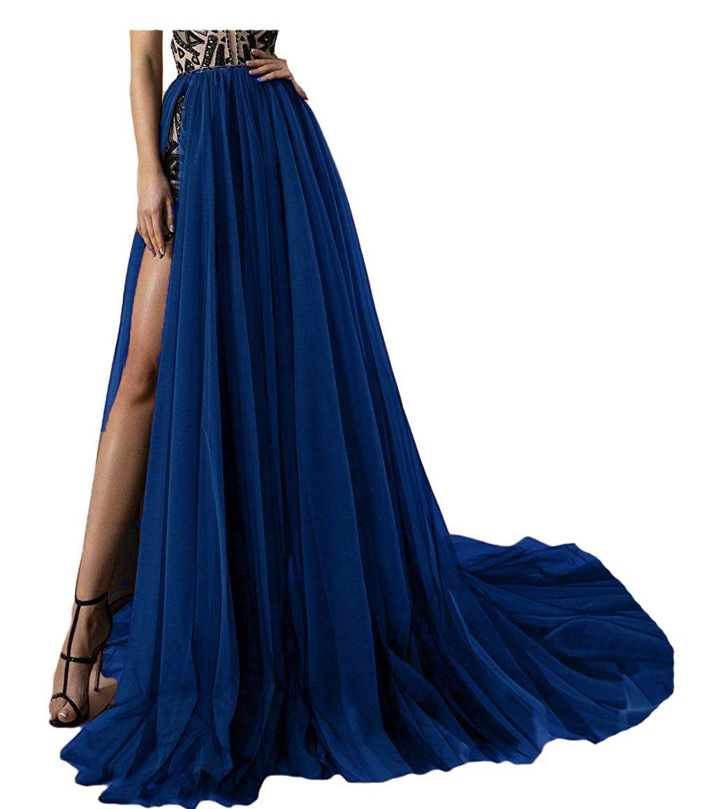 Simlehouse 4 Layer Tulle Detachable Skirts High Split Side Overskirts for Prom Party Dress Sweep Train-Royal Blue by Simlehouse