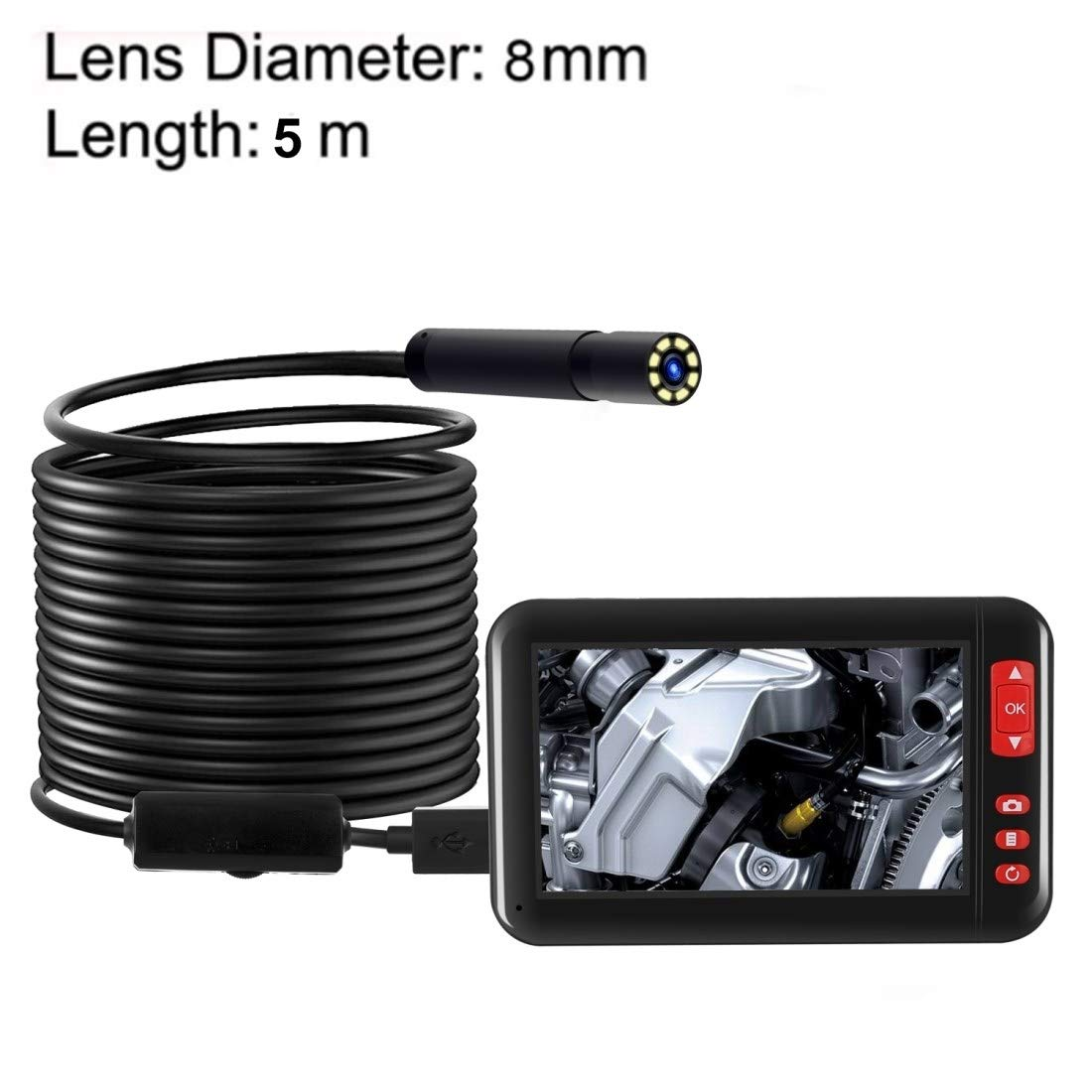 QGT F200 4.3 Inch Screen Display HD1080P Snake Tube Inspection Endoscope with 8 LEDs, Length: 5m, Lens Diameter: 8mm, Hard Line