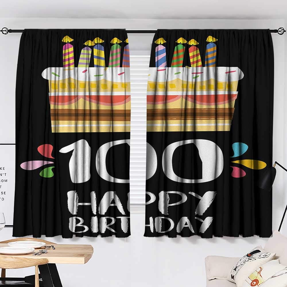 Jinguizi 100th Birthday Bedroom/Living Old Legacy 100 Birthday Party Cake Candles on Black Major Milestone Backdrop Insulating Darkening Curtains Multicolor W55 x L39 by Jinguizi (Image #2)