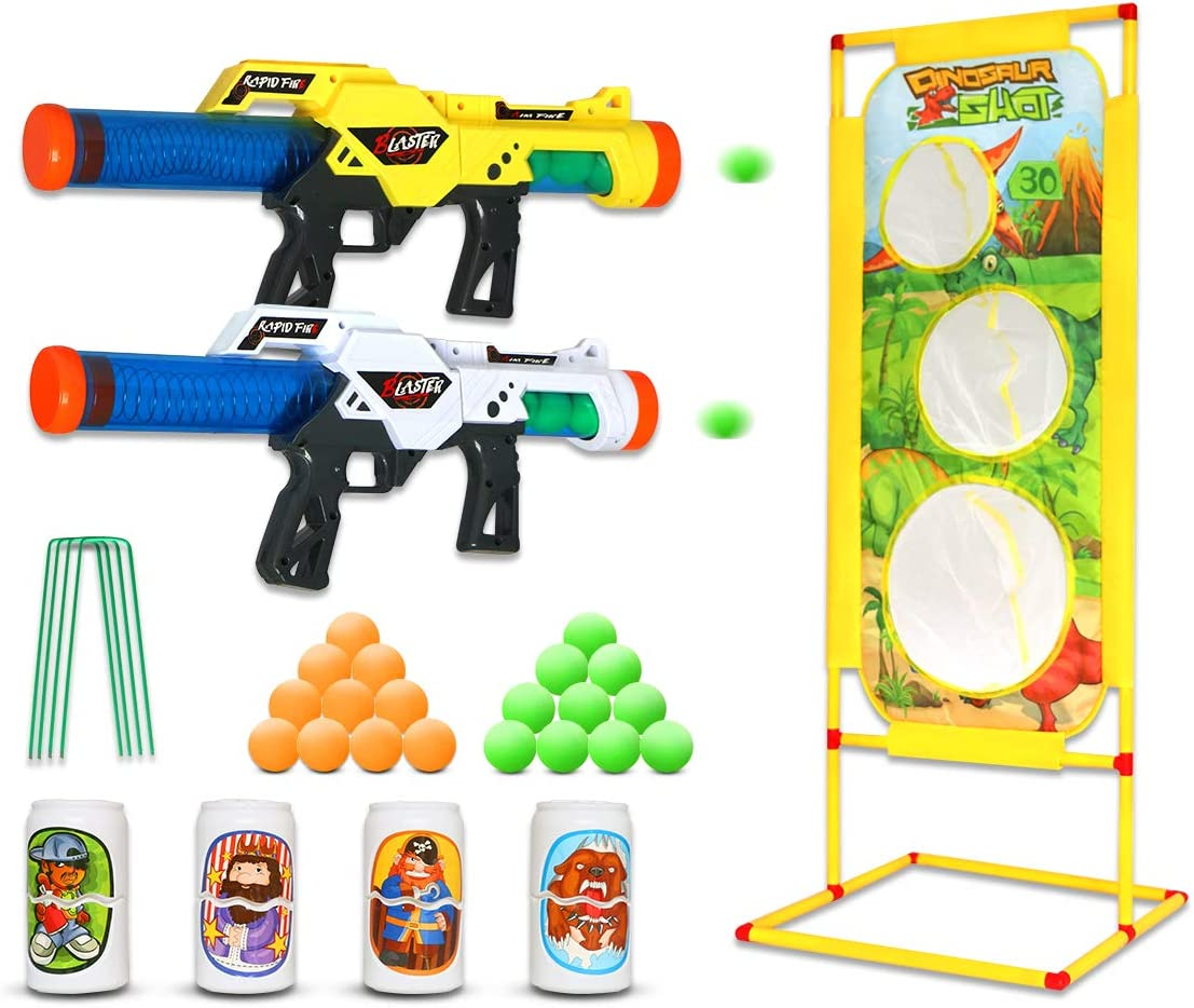 MESIXI Atomic Power Popper Gun Battle Pack Foam Ball Blaster Guns Air Powered Shooter Toy Guns 2 Pcs, 20 Foam Balls, 4 Bottle Targets, 1 Shooting Target for Kids Role Playing Family Home Outdoor Toy