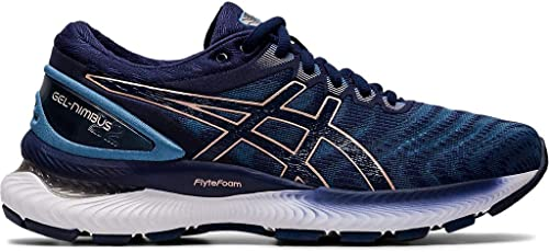 asics womens running shoes navy knee
