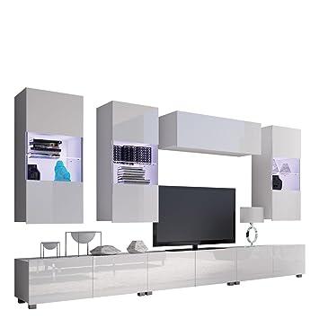 Moderne Wohnwand Calabrini XI, Anbauwand, Hängevitrine, TV Lowboard ...