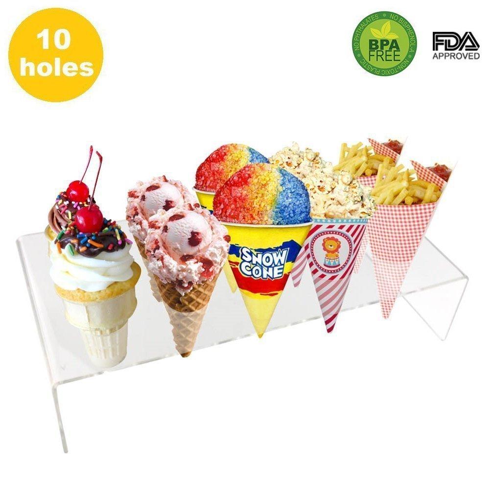 10 Holes Mini Ice Cream Stand Acrylic Cone Holder Rack to Display Ice Cream Cone Popcorn Candy Mini Oreo Sugar Snow Cone French Fries Sweets Savory
