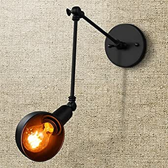 Fuloon Vintage Retro Industrial Style Wrought Iron Long Arm Pole Wall Lamp Swing Arm Wall Mount ...