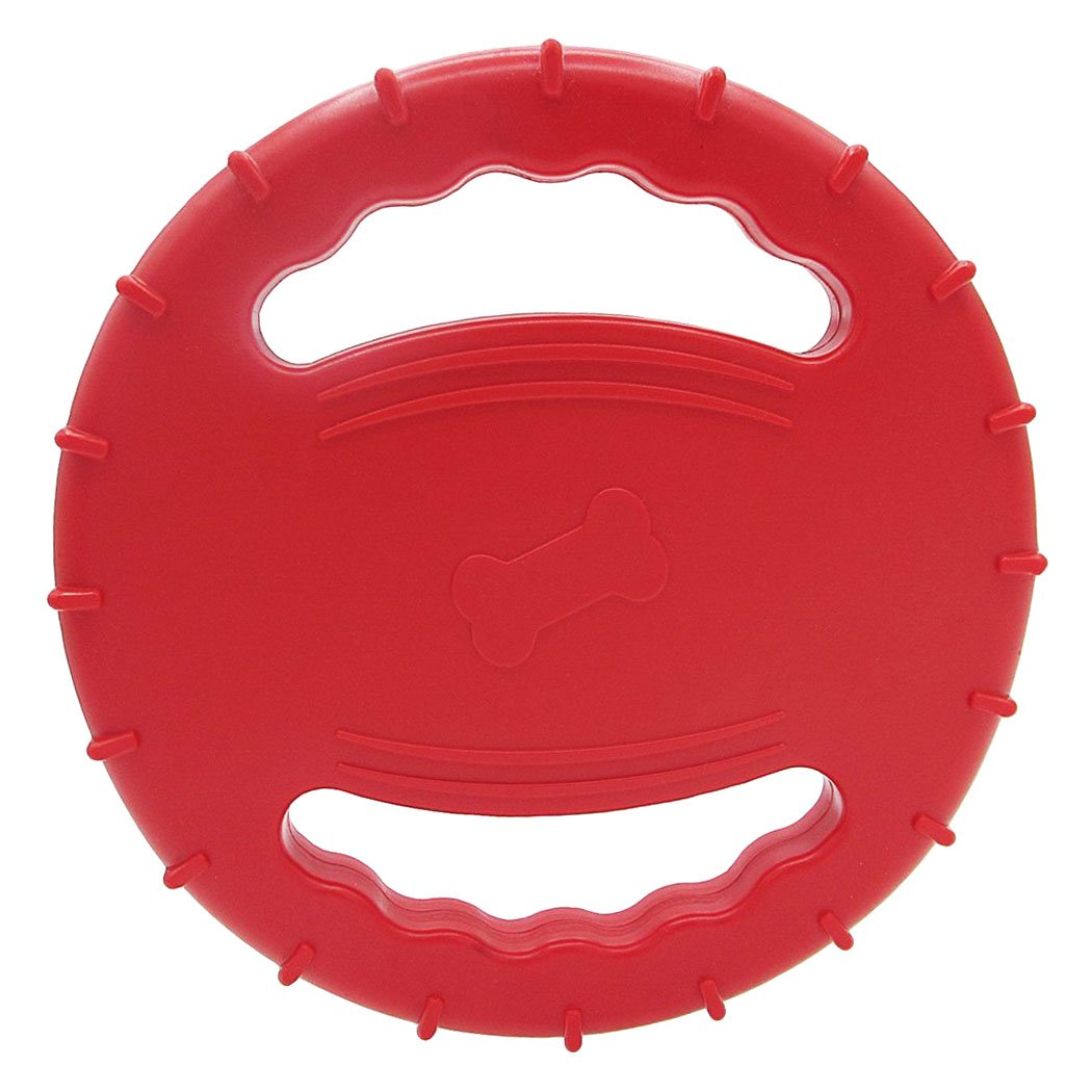Legendog Flying Disc Squeaky Rubber Dog Toys Soft Floating Dog Catcher Toy for Pet Training & Chewing (Red)