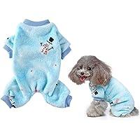 Vehomy Pijama navideño para perro con patrón de muñeco de nieve, suave forro polar coral para mascotas de invierno para…