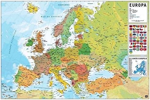 Grupo Erik Editores Poster Mapa Europa Fisico Politico (Editado en ...