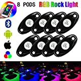 TJX-Inc RGB LED Rock Lights Bluetooth Multicolor Neon LED Light Kit for Jeep Off Road Truck Car ATV SUV Vehicle Boat Underbody Glow Trail Rig Neon Lights Waterproof (8 POD)
