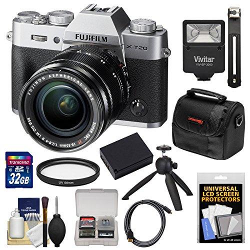 Fujifilm X-T20 Wi-Fi Digital Camera & 18-55mm XF Lens (Silver) with 32GB Card + Battery + Tripod + Flash + Case + Kit