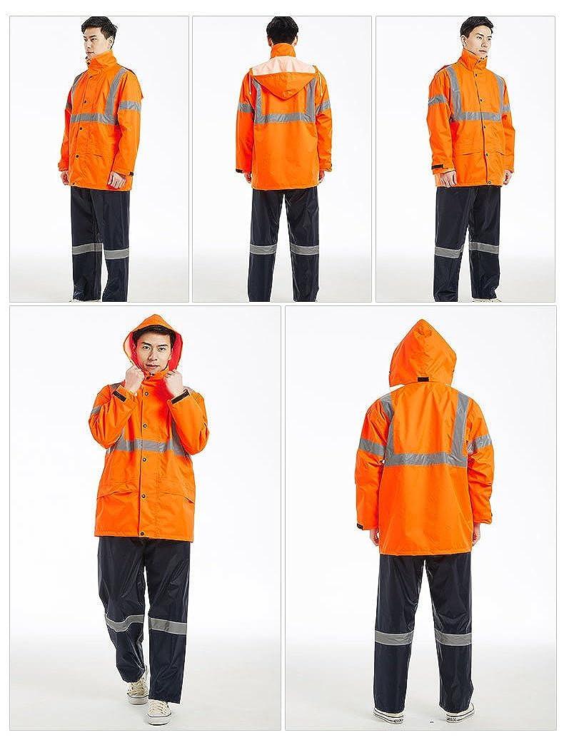 Icegrey Uomo Hi Vis Completo Antipioggia Giacca e Pantalone Anti Pioggia Impermeabile Tuta Vis da Lavoro Riflettente