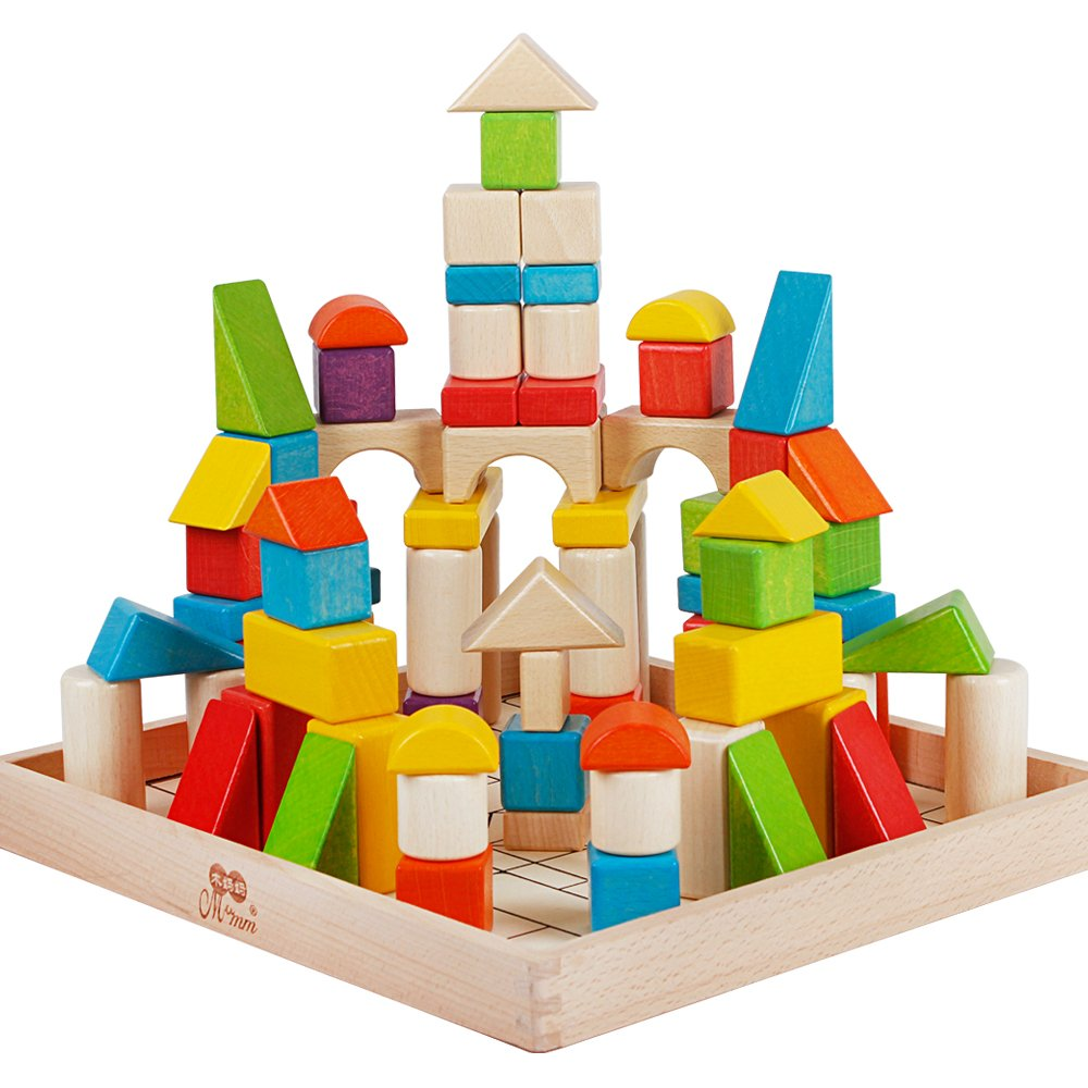 72Pcs Wooden Building Stacking Blocks Set Classical Educational Shape and Color Learning Toys for Kids Toddlers Children