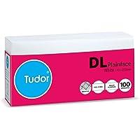 Tudor Envelopes DL 110x220 White Peel and Seal Secretive Wallet Envelopes Tray 100 Retail Pack, (140010)
