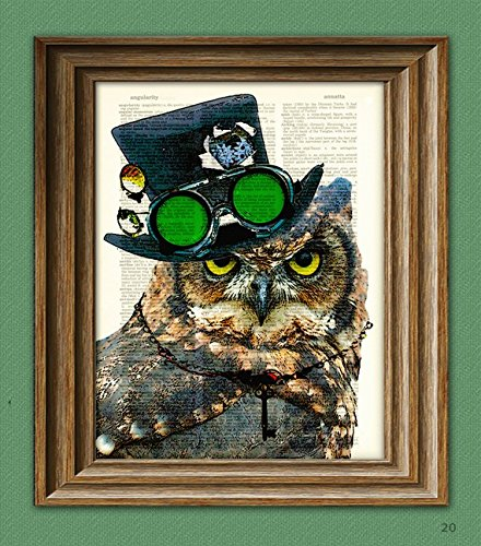 Steampunk Owl Inspektor VonTalon with top hat and goggles and skeleton key illustration beautifully upcycled dictionary page book art - Goggles Top