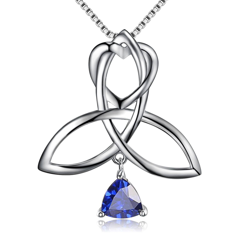 BGTY Sterling Silver Blue CZ Irish Triangle Celtic Knot Heart Vintage Pendant Necklace