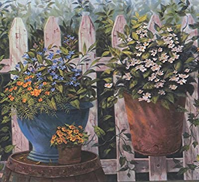 Blue Orange White Yellow Flowers in Pots Fenced Yard Country Wallpaper Border Farmhouse Design, Roll 15' x 8.5''