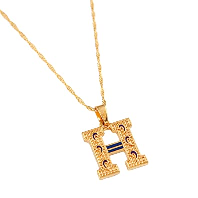 a5694a3a13f6 H Letter Charm Necklace Valentines Gift For Women Alphabet Gold Color  Pendant Chain Jewelry  Amazon.co.uk  Jewellery