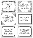 Premium Wedding Thank You Cards (Set of 24) Assorted Elegant Notecards & Envelopes from the New Mr. & Mrs. Classic Traditional Black & White Blank Inside Excellent Value Gift by Digibuddha VTA0007B