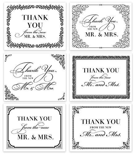 Premium Wedding Thank You Cards (Set of 24) Assorted Elegant Notecards & Envelopes from the New Mr. & Mrs. Classic Traditional Black & White Blank Inside Excellent Value Gift by Digibuddha VTA0007B by Digibuddha