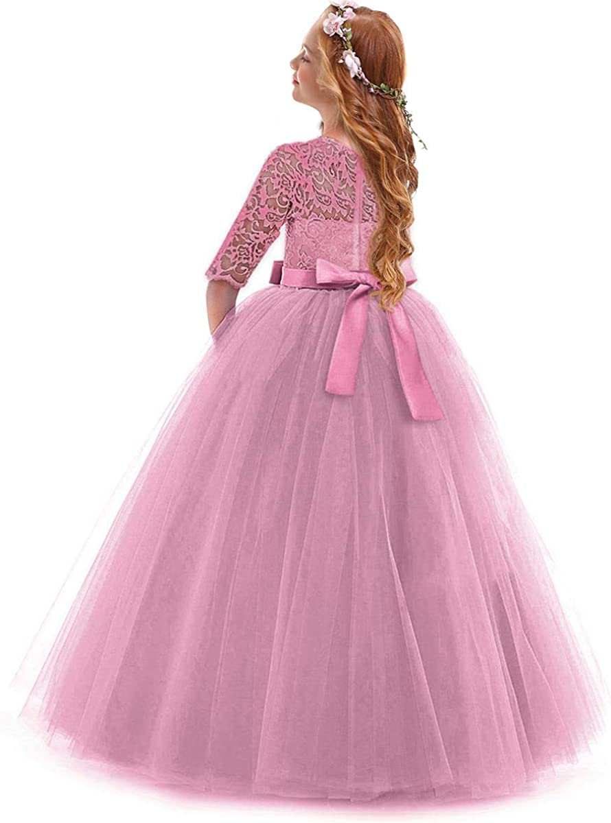 IBTOM CASTLE Girls Vintage Floral Lace 3//4 Sleeves Party Fall Bridesmaid Prom Gown