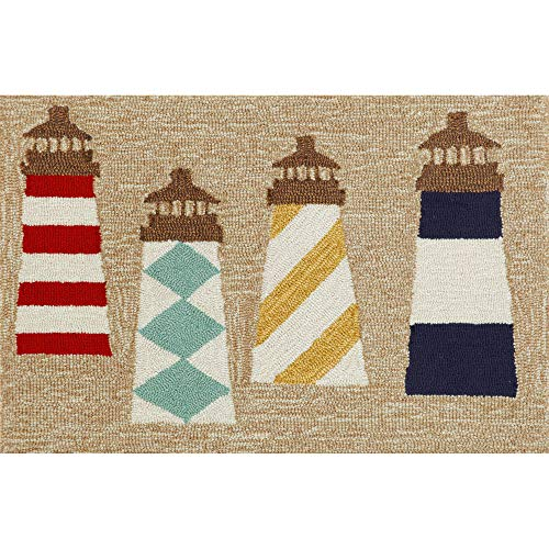 Liora Manne FTP12140112 Front Porch Whimsy Coastal Lighthouse At The Beach Indoor/Outdoor Patio Area Rug 20