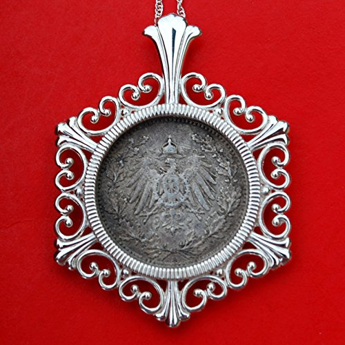 1907 Germany Empire 1/2 Mark 90% Silver Coin 925 Sterling Silver Necklace NEW - Crowned Imperial Eagle with Shield on Breast within Wreath