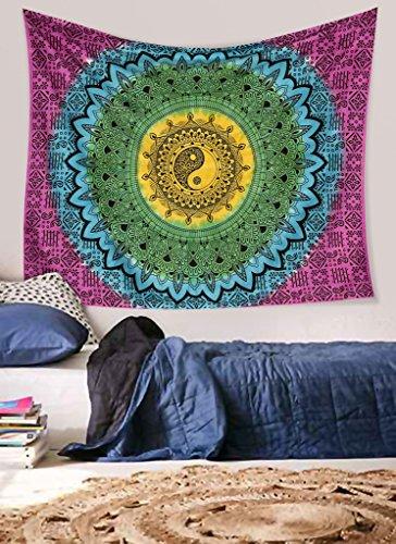 Mandala Decor Mandala Decor Hippie mandala wall hanging bohemian pure cotton tapestry ying yang tie (Hippie Decor Shop)