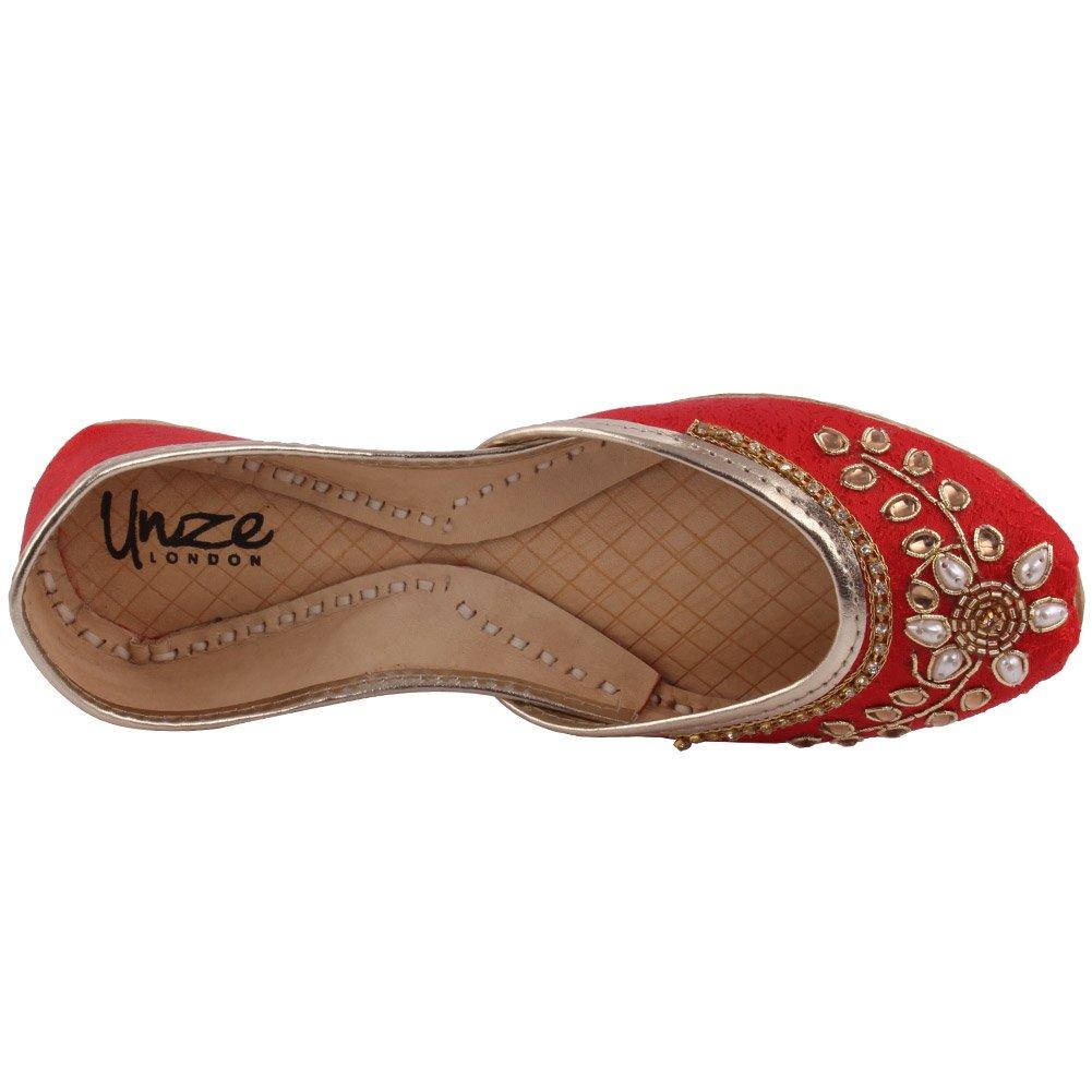 "Unze New Girls Traditional /""Leela/"" Party Wedding Embellished Mehndi Dinner Khussa UK Size 1-13"