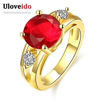 Laprapha Red Stone Wedding Ring With Female Jewellery Bague En Argent Femme Fashion CZ Diamond Rings
