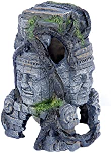 "Penn-Plax RR966 Cambodian Rock Faces Aquarium Figure for Decoration and Decor, 6"" x 7.5"""