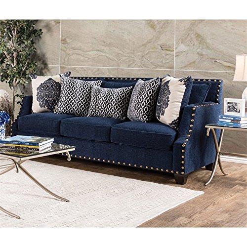 Furniture of America Lipscomb Fabric Sofa in Navy
