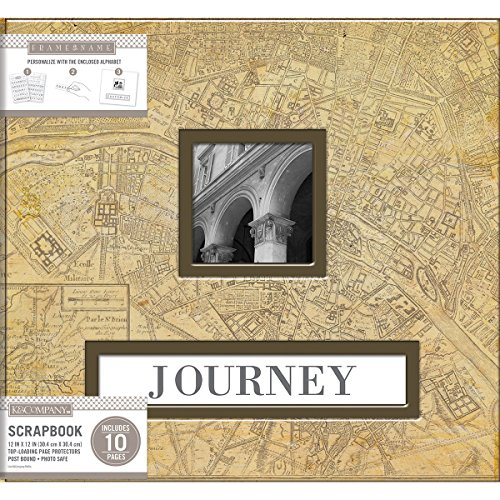 "K&Company Frame-A-Name Post Bound Album 12""X12""-Vintage Map"