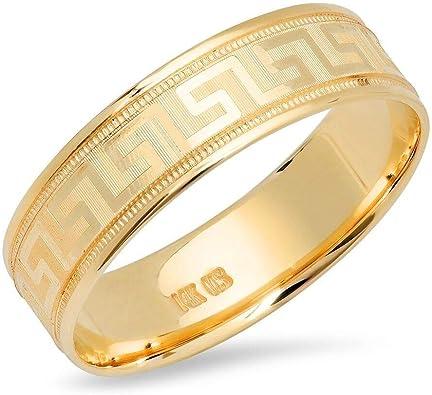 14K Yellow Gold 6 MM Greek Key Band Ring Size 4 to 10 Unisex