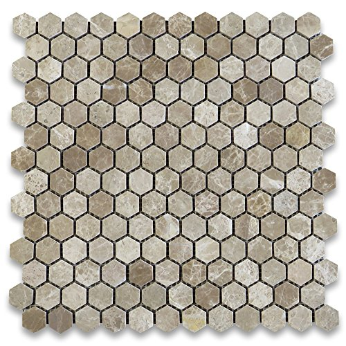 Emperador Light Marble Hexagon Mosaic Tile 1 inch Polished