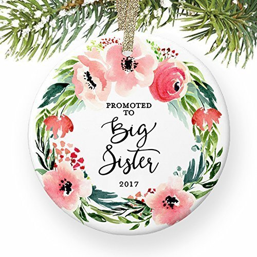 Promoted to Big Sister Christmas Ornament 2017, New Baby Sister or Brother Older Sibling Xmas Keepsake Gift, Pink Floral Wreath Ceramic 3
