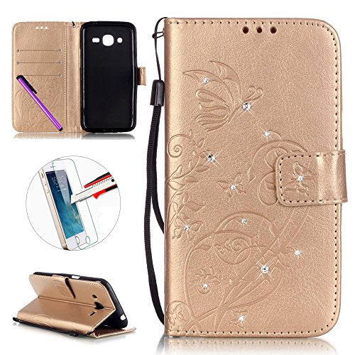 Samsung Galaxy J2 2016 Case, ISADENSER Butterfly Embossed PU Leather Case Bling Glitter Magnet Flip Wallet Stand Case with Card Slots for Galaxy J210 + 1pcs Screen Protector (Diamonds Gold)