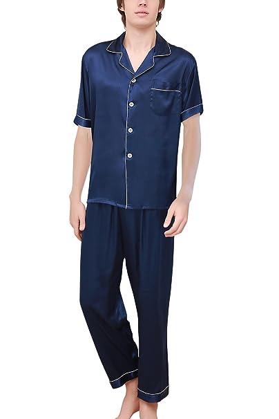 Dolamen Pijamas para Hombre Satén Largo, Hombre Parejas Primavera Verano Camisones Pijamas de Parejas Ropa